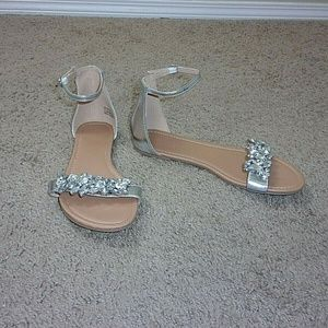 Charlotte Russe Sandals Rhinestones Bling Silver 7
